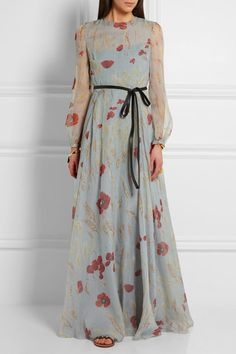 Shop on-sale Belted floral-print silk-chiffon gown. Browse other discount designer Gowns & more luxury fashion pieces at THE OUTNET Long Chiffon Skirt, Chiffon Gown, Floral Chiffon, Silk Dress, New Dress, Floral Maxi, Dress Red, Trendy Dresses, Nice Dresses
