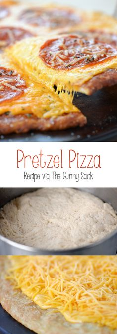 I think pizza may have just become even better! This is not like your other pizza recipes.This Pretzel Pizza recipe makes the BEST homemade pizza ever! I Love Food, Good Food, Yummy Food, Pretzel Pizza, Pizza Recipes, Cooking Recipes, Flatbread Recipes, Chicken Recipes, Love Pizza