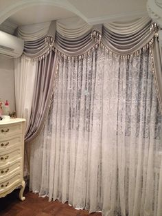 Another gorg window treatment! Tuscan Curtains, Curtains And Draperies, Elegant Curtains, Beautiful Curtains, Home Curtains, Farmhouse Curtains, Modern Curtains, Valances, Drapery Designs
