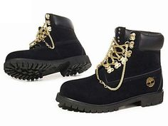 black timberland 6 inch boots for women with gold chain, buy it now with cheap price.