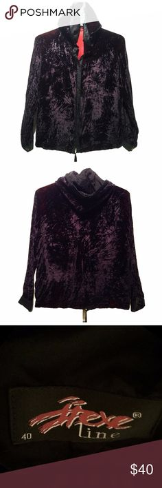Hexe Line Velvet hooded jacket with pockets So hard to capture the gorgeous color in photos! A shiny burgundy black velvet. This is a light jacket. Big generous hood. Button up front with two pockets large enough for a phone. Waist cord. Black trim. Inside is a rich burgundy color. Rarely worn. Great condition. Acetate / viskose 🐝 brand is Hexe Line.   Label says size 40 but not sure if Euro dress or US sweater. I would say it fits about an M but please know this is a best guess.   Measures…