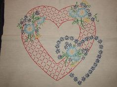 6 BEAUTIFUL HAND EMBROIDERED HEART QUILT BLOCKS by themachinequilter