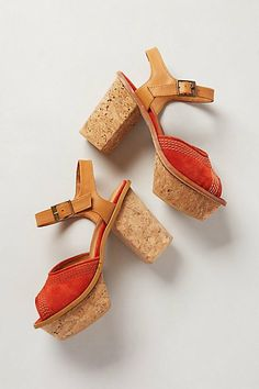 I LOVE these 70's style platform sandals with a cork sole!   Women's footwear shoes heels pumps for spring and summer