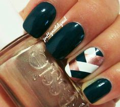 Grad nails? Except of the green stripe put some bling. Emerald green, accent scaly nail