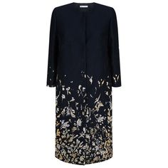 Oscar de la Renta Embroidered Metallic Coat (88 260 UAH) ❤ liked on Polyvore featuring outerwear, coats, metallic coat, oscar de la renta coat, oscar de la renta, blue coat and embroidered coat