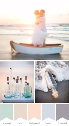 Sea Glass ~ Ecru ~ Light Peach ~ Glacier ~ Wisteria