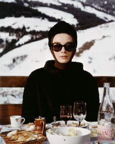 """The actress Audrey Hepburn photographed by Vincent Rossell at the Résidence Maeva Le Mont d'Arbois, a ski resort in Megève (France), near Mont-Blanc in the French Alps, during the filming of """"Charade"""", in January 1963."""