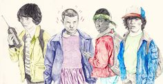 Mike/Eleven/Lucas/Dustin - Stranger Things Drawing by Ryan Humphrey