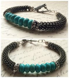 Turquoise Coiled Bracelet Bangle Bracelet by RavensMoonDesigns