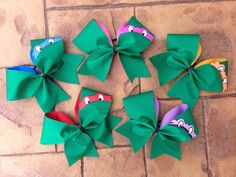 Check out our cheer bow ninja turtle selection for the very best in unique or custom, handmade pieces from our shops. Turtle Birthday Parties, Ninja Turtle Birthday, Turtle Party, Ninja Turtles, 5th Birthday, Softball Bows, Cheerleading Bows, Competitive Cheerleading, Cheers Theme Song