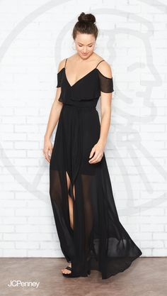 505fce04bfc8a A black maxi dress with ruffles and that just right mix of romantic and  casual makes