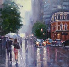 "Daily Paintworks - ""Saturday Rain at The Toronto International Film Festival"" - Original Fine Art for Sale - © Catherine Jeffrey"