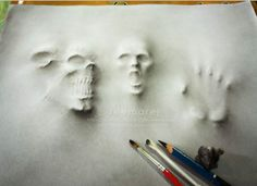 Drawing pencil illustration bored panda Ideas for 2019 3d Pencil Drawings, Realistic Drawings, 3d Pencil Art, Scary Drawings, Skull Drawings, Drawing Tips, Painting & Drawing, Drawing Ideas, Ghost Drawing