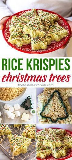 Rice Krispies Christmas Trees - a perfect holiday treat for kids! If you're looking for a Christmas treat for kids this is perfect! Kids will love helping to make these. You can also make them for a School bake sale or class treat.  #bestideasforkids #christmasrecipe #recipekrispies #recipe #easyrecipe #recipeforchristmas #treats #christmas