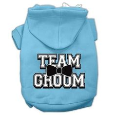 Team Groom Screen Print Pet Hoodies Baby Blue Size Med (12)