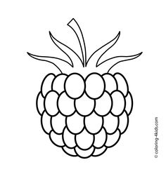 One raspberry fruits and berries coloring pages for kids, printable free