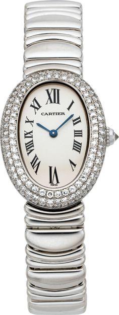 "Timepieces:Wristwatch, Cartier Fine Lady's White Gold & Diamond ""Baignoire"" WristwatchWith Bracelet, circa 1995. ... Image #1"