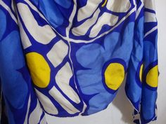 Vintage Pierre Cardin Paris Silk Scarf Mod 60s 70s Bright Flowers Handmade #PierreCardin