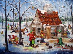Christine Genest, Cabane à sucre 30X40 Sugar Bush, Perfect Peace, Storybook Cottage, Ecole Art, Z Arts, All Nature, Fashion Painting, Naive Art, Winter Art