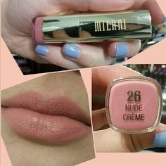 Milani Nude Cream and Maybelline Stormy Sahara Two lipsticks for the price of one. Swatched but not used. Great natural colors. Milani Nude Cream is supposed to be one of the best colors for brunettes! Milani Makeup Lipstick
