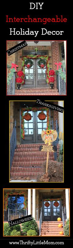 DIY Interchangeable Holiday & Seasonal decor.  With a few simple craft supplies you can get a maximum decorating effect with minimal supplies that you simply swap out for each Holiday. Halloween, Fall & Christmas!