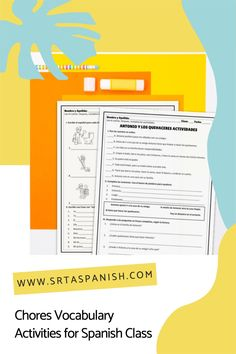 Are you looking for chores activities for your Spanish classes? Check out these activities for practicing los quehaceres in Spanish class! Grab a download for your novice middle school or high school Spanish classes. Reading, writing, listening & speaking activities are all included in this blog post to help you teach los quehaceres or chores in Spanish! Homework, reading a story, and great ideas for lesson plans as you teach clothing in Spanish to your secondary students! Spanish Classroom, Teaching Spanish, Middle School Spanish, Spanish Lesson Plans, Grammar Skills, Spanish 1, Vocabulary Activities, Comprehension Questions, Homework