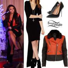 Jesy Nelson performed with her bandmates at their Mixers Salute Party yesterday wearing the Yuryka Asymmetric Maxi Dress by Missguided ($36.00), a River Island Orange Colour-Block Biker Jacket ($120.00) and a pair of Kurt Geiger Britton Pumps (£250.00). You can find similar pumps at Steve Madden ($49.99).