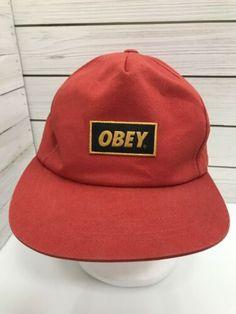 9f6567c21a158 Obey Orange Cap Snapback Hat Streetwear Surfer Flat Bill Patch Sample As Is  Hat Day