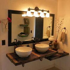 "Bathroom Vanity No Faucet Holes 49"" x 22"" bamboo double vanity top - 2"" drain cutout - no faucet"