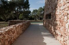 path of Exquisite House Characterized with Natural Stone Wall and Surrounded by Olive Trees