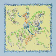 Hermès Cheval Fleuri soie 90 cm by Henri d' Origny  This delightful scene is clearly inspired by the 16th century Italian painter Giuseppe Arcimboldo, a protégé of the Habsburg court.