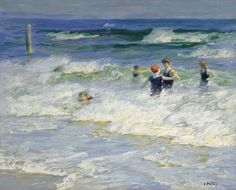 Edward Henry Potthast PLAYING IN THE SURF