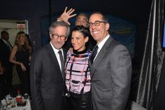Greatest photobomb ever- George Clooner photobombing Jerry Seinfeld and Steven Spielberg!