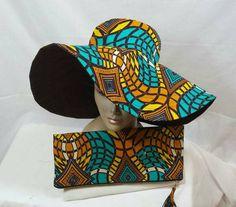 Multicolor sun hat African print Ankara Wax Cotton by LiPaSabyMNK