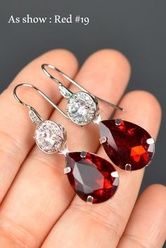 Red crystal ruby red garnet red crystal red silver gold rose gold red Drop Wedding Bridal Wedding Dangle Earrings dark red Bridesmaid Gifts