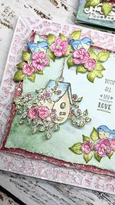 """Table Retirement Greetings Card Chairs Flowers And Glitter 7.75/"""" x 5.25/"""""""