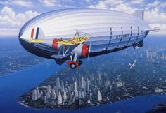 """USS Macon (ZRS-5) and a Curtiss F9C-2 Sparrowhawk aircraft in flight over Manhattan, New York City.  USS Macon was a rigid airship built and operated by the U.S. Navy for scouting and served as a """"flying aircraft carrier"""", launching Curtiss F9C Sparrowhawk biplane fighters.  In service for less than two years, in 1935 Macon was damaged in a storm and lost off California's Big Sur coast, though most of the crew were saved."""