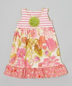 Another great find on #zulily! Coral Cabbage Rose Ruffle Babydoll Dress - Toddler & Girls #zulilyfinds