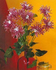 Белые и бордовые хризантемы / Цветы / Biserok.org
