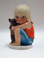 Margaret Keane Big Eyes Figures by Dave Grossman Designs Girl with Kitty 1978