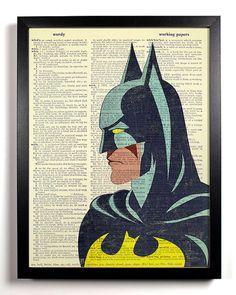 Superhero Art, Batman Art, Superhero Print on DICTIONARY PAGE, BATMAN Print, Superhero Decor, Dictionary Page Art, Wall Art Poster Artwork