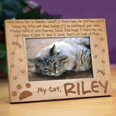 Personalized Have You a Cat in Heaven Wood Picture Frame