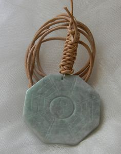 Jade horse pendant w leather cord necklace beaded jewelry large celadon jade pendant on leather cord necklace yin yang i ching carving unusual aloadofball Image collections