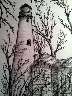 Tower -Old Tower - Que lindo farol Amelia Lighthouse Aveiro (Barra) Lighthouse, Aveiro, Portugal Jerry Raedeke Split Rock Lighthouse Pencil Sketches Landscape, Pencil Sketch Drawing, Landscape Drawings, Pencil Art Drawings, Cool Landscapes, Art Drawings Sketches, Pencil Drawing Inspiration, Lighthouse Drawing, Nature Sketch