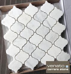 Carrara Venato Arabesque Marble Mosaic / MODELO PERFEITO PARA COLOCAR NA RODABANCA DA COZINHA