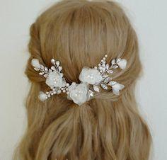 Rhinestone Leaf Vines Wedding Hair Pins Set Bridal by adriajewelry Gold Wedding Crowns, Wedding Flowers, Wedding Hair Pins, Bridal Hair, Swarovski Pearls, Hair Comb, Hair Pieces, Wedding Hairstyles, Hair Accessories