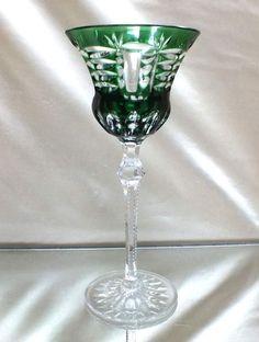Art Deco Römer Überfangglas Kristall Josephinenhütte Kunstglas, Antikglas grün