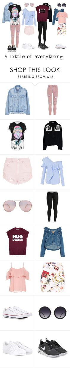 """De todo un poco."" by tgrr ❤ liked on Polyvore featuring MANGO, River Island, WithChic, Topshop, FAIR+true, Oliver Peoples, Balenciaga, BB Dakota, Converse and Alice + Olivia"