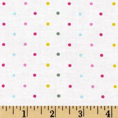 Child's Play Dots Multi/White from @fabricdotcom  This cotton print fabric is perfect for quilting, apparel and home decor accents. Colors include pink, blue, yellow, green and white.