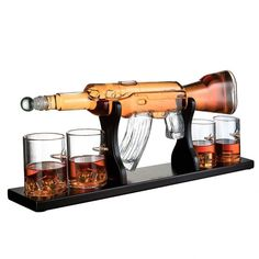 Buy Gun Large Decanter Set Bullet Glasses - Limited Edition Elegant Rifle Gun Whiskey Decanter With 4 Bullet Whiskey Glasses and Mohogany Wooden Base By The Wine Savant Whiskey Decanter, Whiskey Glasses, Whiskey Drinks, Shot Glasses, Bourbon, Table Bar, Bars For Home, Just For You, Elegant